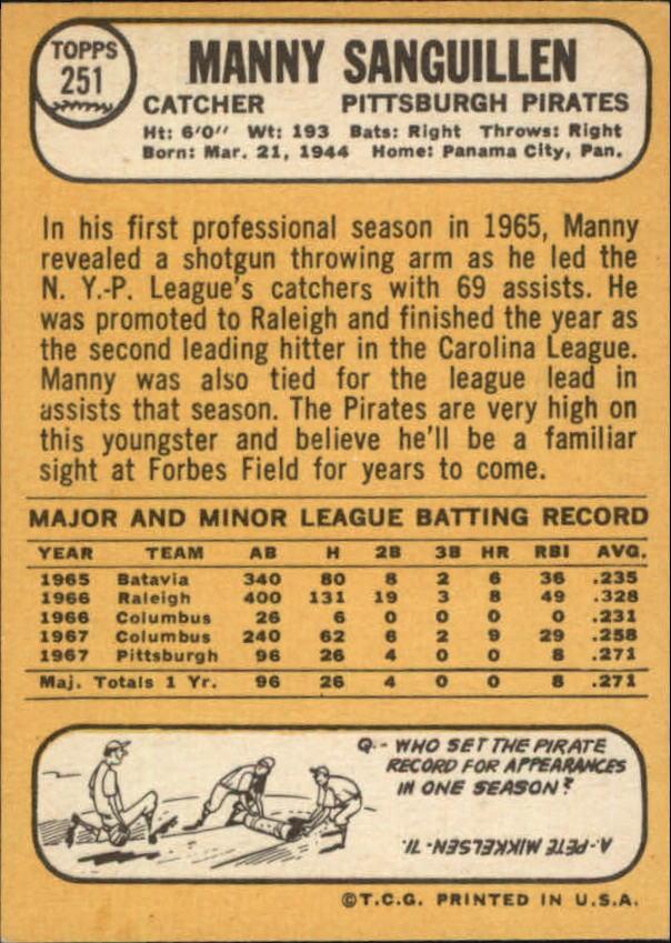 1968 Topps #251 Manny Sanguillen RC back image