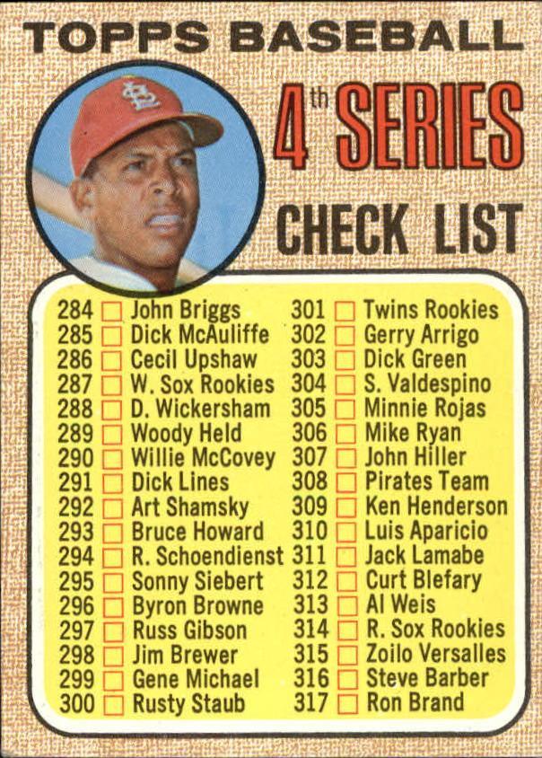 1968 Topps #278 Checklist 4/Orlando Cepeda
