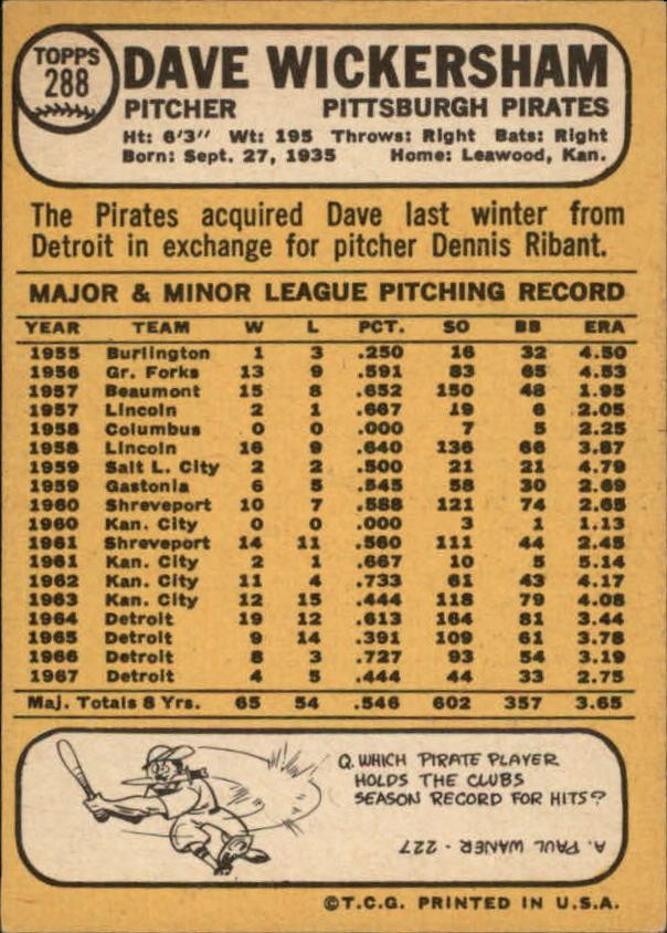 1968 Topps #288 Dave Wickersham back image
