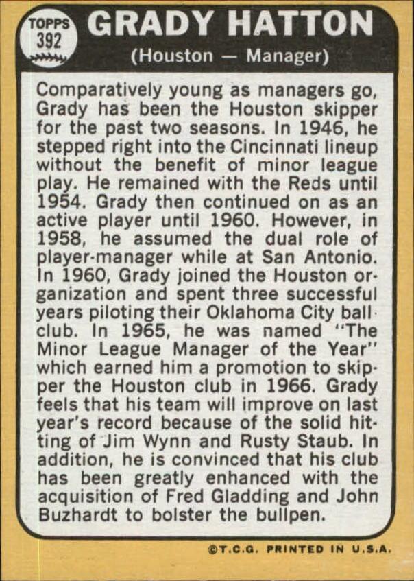 1968 Topps #392 Grady Hatton MG back image