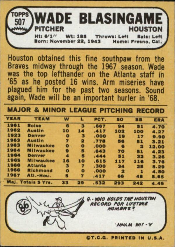 1968 Topps #507 Wade Blasingame back image