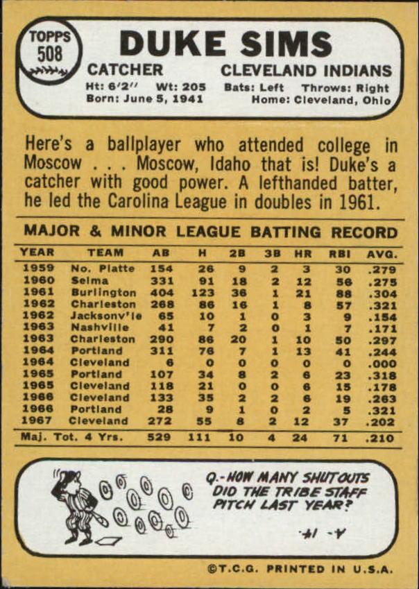 1968 Topps #508 Duke Sims back image