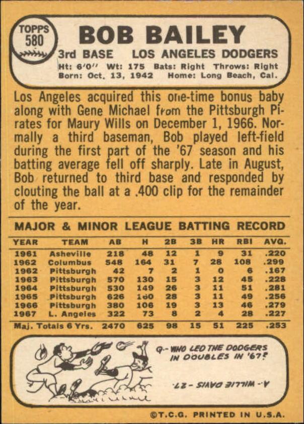 1968 Topps #580 Bob Bailey back image