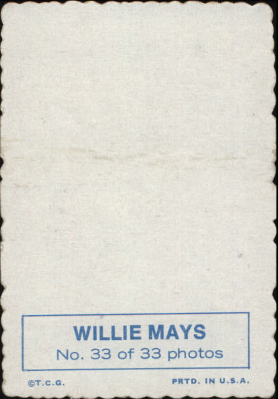 1969 Topps Deckle Edge #33 Willie Mays back image