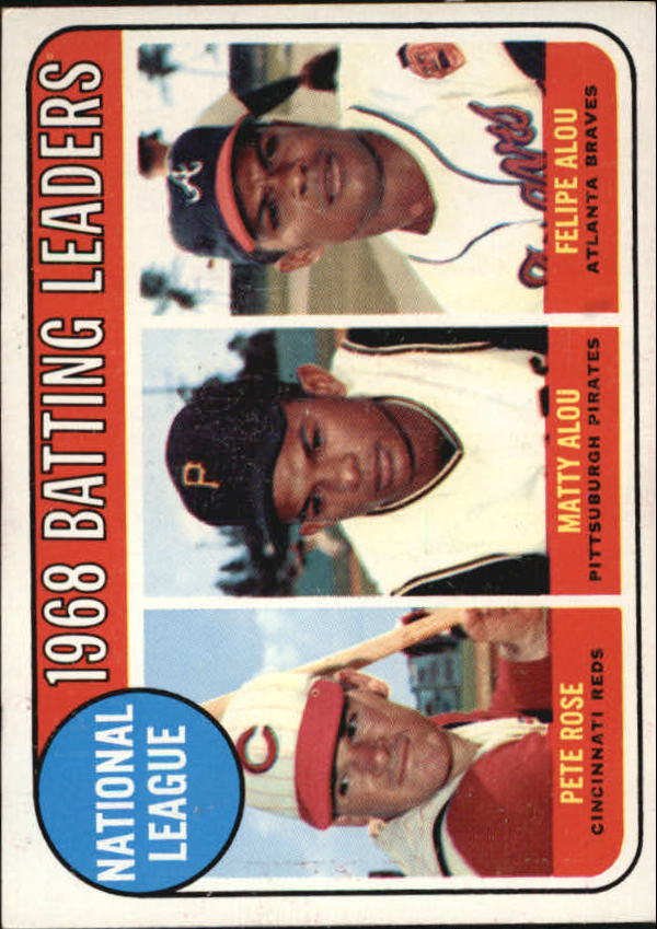 1969 Topps #2 NL Batting Leaders/Pete Rose/Matty Alou/Felipe Alou