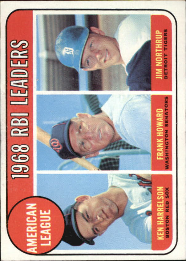 1969 Topps #3 AL RBI Leaders/Ken Harrelson/Frank Howard/Jim Northrup