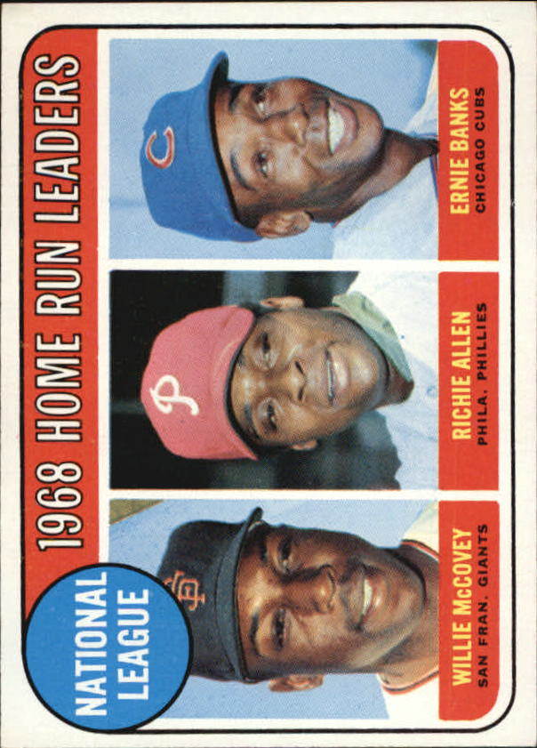 1969 Topps #6 NL Home Run Leaders/Willie McCovey/Richie Allen/Ernie Banks