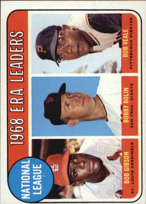 1969 Topps #8 NL ERA Leaders/Bob Gibson/Bobby Bolin/Bob Veale
