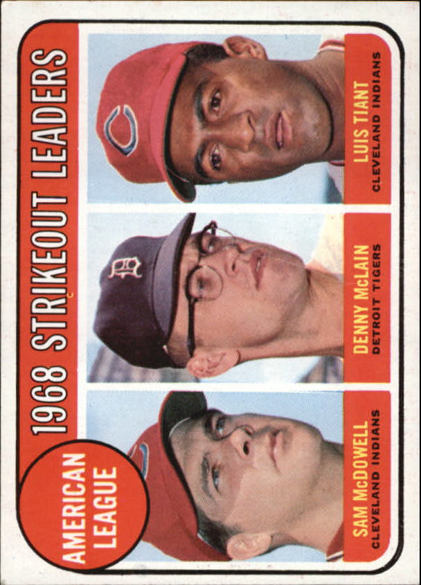 1969 Topps #11 AL Strikeout Leaders/Sam McDowell/Denny McLain/Luis Tiant