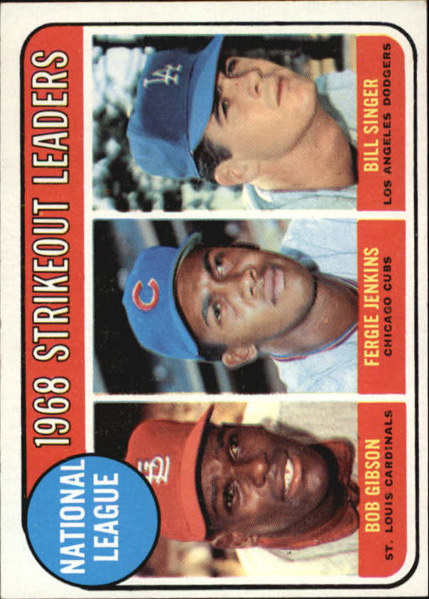1969 Topps #12 NL Strikeout Leaders/Bob Gibson/Fergie Jenkins/Bill Singer