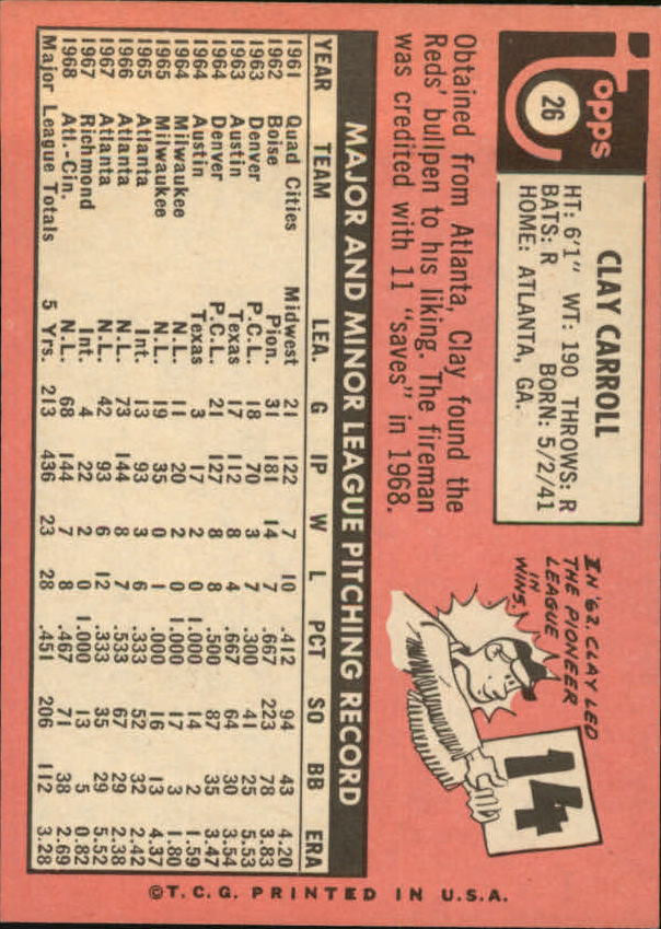1969 Topps #26 Clay Carroll back image