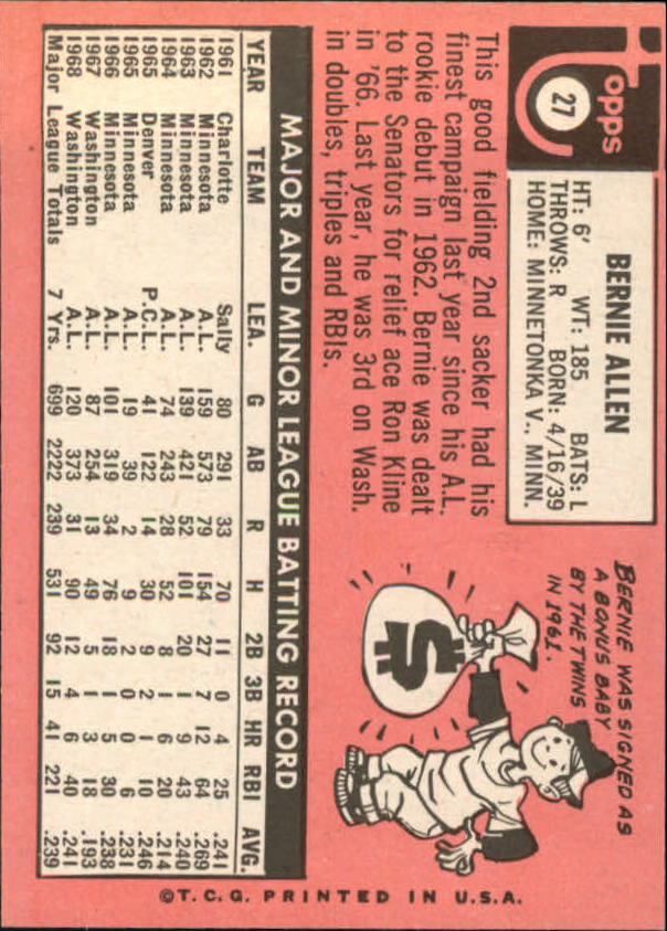 1969 Topps #27 Bernie Allen back image
