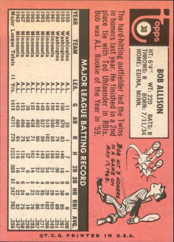 1969 Topps #30 Bob Allison back image