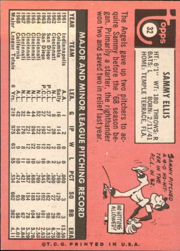 1969 Topps #32 Sammy Ellis back image