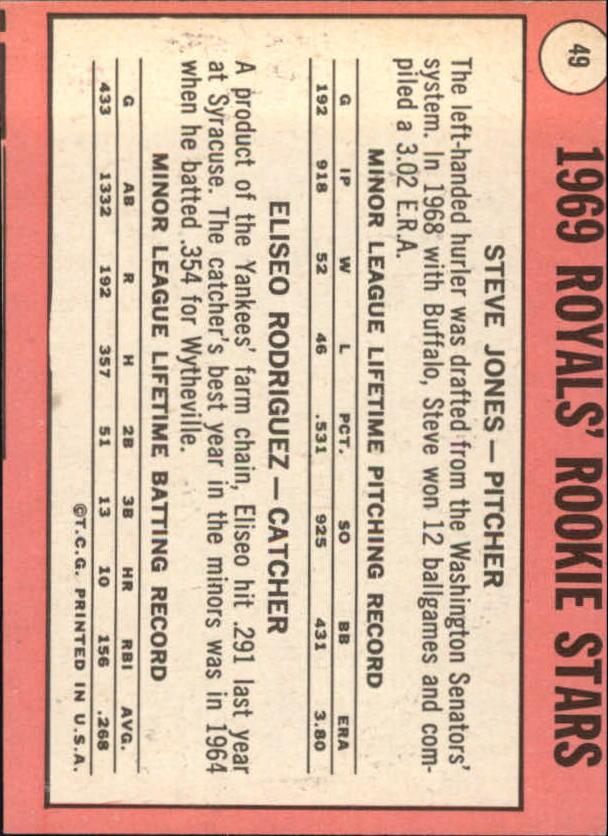 1969 Topps #49A Rookie Stars/Steve Jones/E. Rodriquez ERR back image