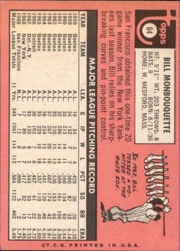 1969 Topps #64 Bill Monbouquette back image