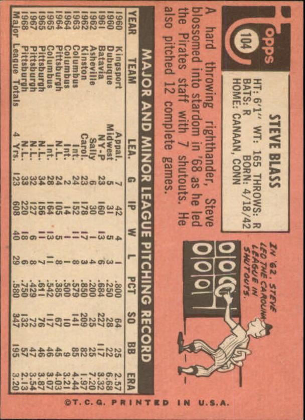 1969 Topps #104 Steve Blass back image