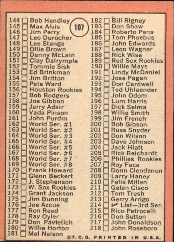 1969 Topps #107A Checklist 2 ERR/Bob Gibson/161 Jim Purdin back image