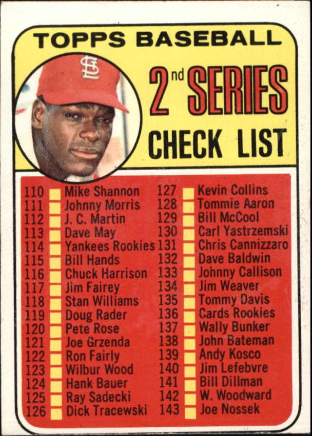 1969 Topps #107A Checklist 2 ERR/Bob Gibson/161 Jim Purdin