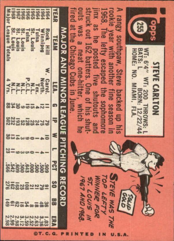 1969 Topps #255 Steve Carlton back image