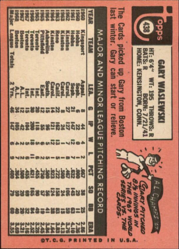 1969 Topps #438 Gary Waslewski RC back image