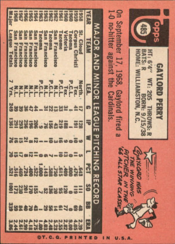 1969 Topps #485A Gaylord Perry back image