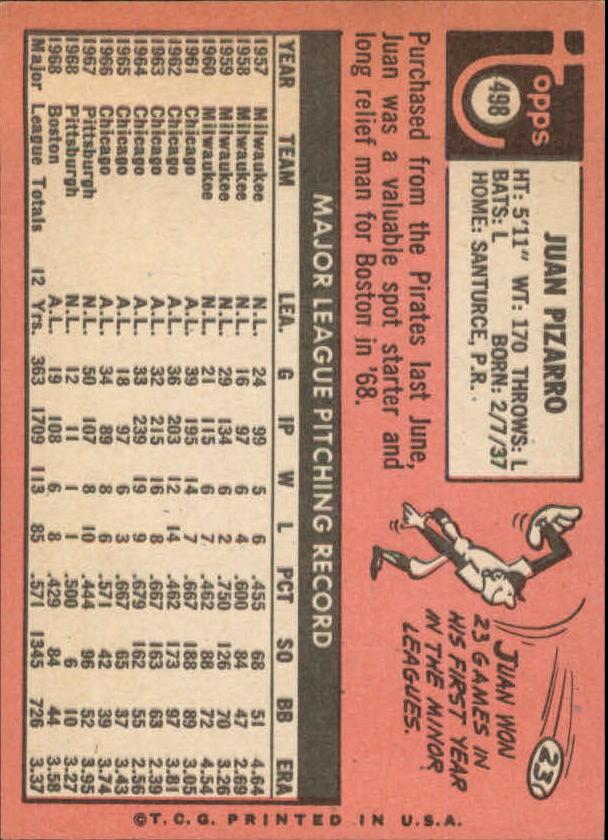 1969 Topps #498 Juan Pizarro back image