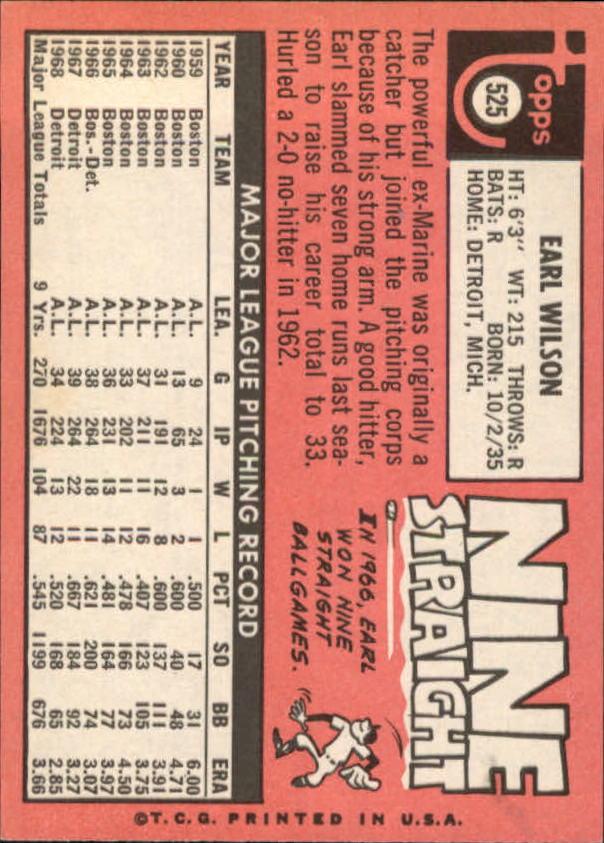 1969 Topps #525 Earl Wilson back image