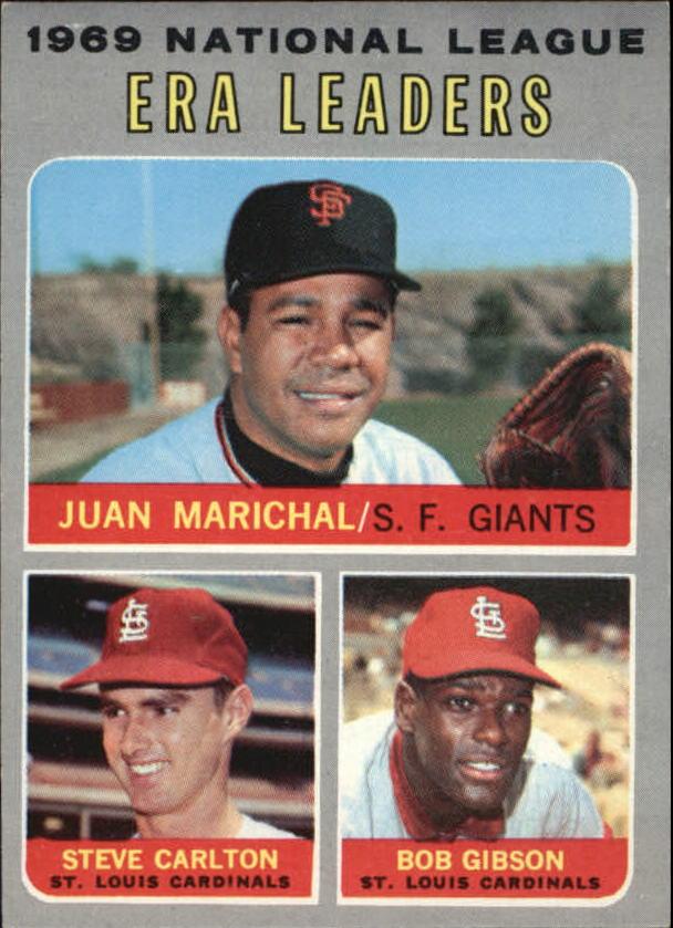1970 Topps #67 NL ERA Leaders/Juan Marichal/Steve Carlton/Bob Gibson