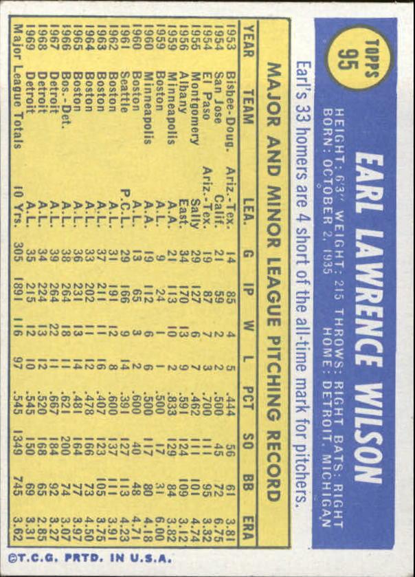 1970 Topps #95 Earl Wilson back image