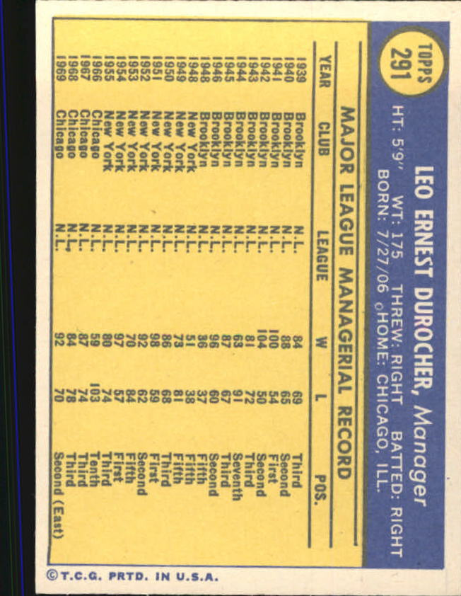 1970 Topps #291 Leo Durocher MG back image