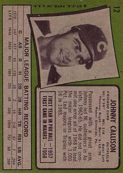 1971 Topps #12 Johnny Callison back image