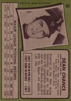 1971 Topps #36 Dean Chance back image