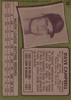 1971 Topps #46 Dave Campbell back image
