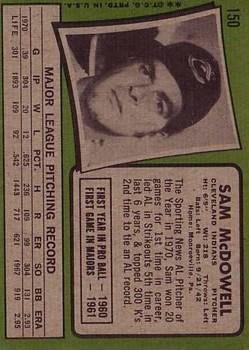 1971 Topps #150 Sam McDowell back image