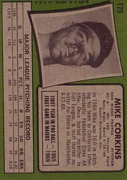 1971 Topps #179 Mike Corkins back image