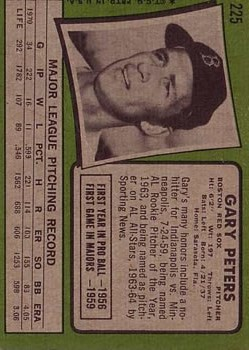 1971 Topps #225 Gary Peters back image