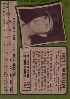 1971 Topps #248 Hoyt Wilhelm back image