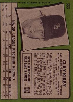 1971 Topps #333 Clay Kirby back image