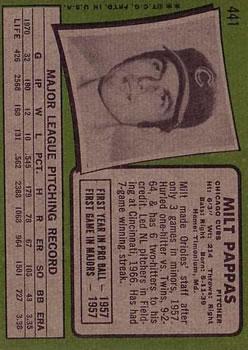 1971 Topps #441 Milt Pappas back image