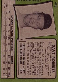 1971 Topps #448 Dave Roberts back image