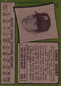 1971 Topps #511 Chris Short/Pete Rose leading off second back image