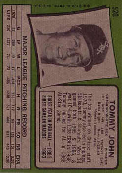 1971 Topps #520 Tommy John back image