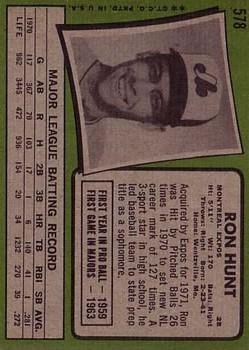 1971 Topps #578 Ron Hunt back image