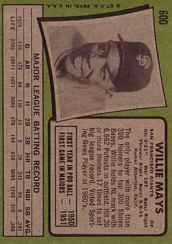 1971 Topps #600 Willie Mays back image