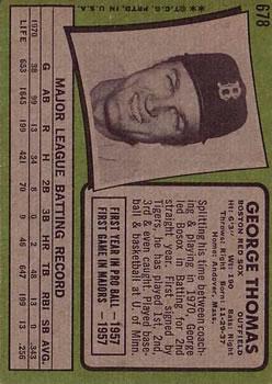 1971 Topps #678 George Thomas back image