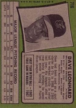 1971 Topps #716 Dave Leonhard back image