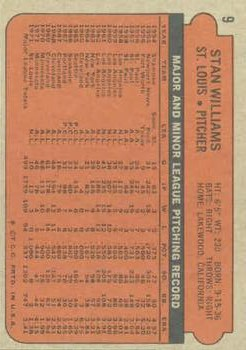 1972 Topps #9 Stan Williams back image