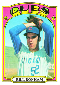 1972 Topps #29A Bill Bonham RC/Yellow underline/C and S of Cubs