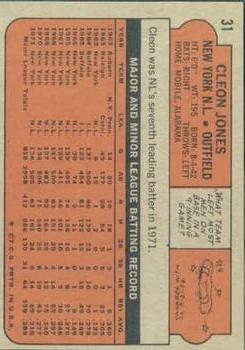 1972 Topps #31 Cleon Jones back image